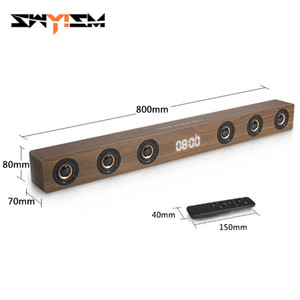 30W Wooden TV Soundbar Portable Bluetooth Speaker Wireless Column Home Theater Bass Stereo Multi-function Subwoofer with TF FM