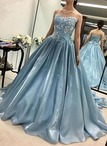 New Light Blue Puffy Quinceanera Dresses Ball Gown Sweetheart Satin Appliques Lace Party Sweet 16 Prom Dresses vestidos de 15 anos