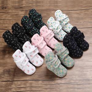 القطن طباعة الوليد الطفل الجوارب الأحذية الصبي فتاة طفل أول مشوا الجوارب القطن لينة المضادة للانزلاق حذاء الرضع الدافئ