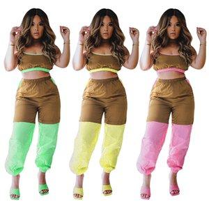 Patchwork Kargo Pantolon Kadınlara özel 2adet Yaz Spagetti Askı Kontrast Renk Kadınlar Tasarımcı Gevşek İki Adet Pantolon