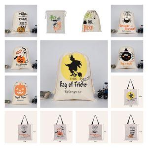 Halloween Candy Bag handbag Canvas bag pumpkin party Gift Wrap Drawstring Bags Decoration 50pcs Party SuppliesT2I51502