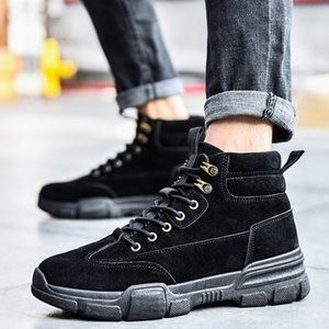 Zapatos de plataforma para hombre de encaje hasta las botas de los hombres deportivos con piel caliente invierno de los hombres zapatos de hombre de nieve botas de la moda de Nueva militry Homme Cuir