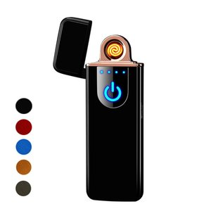 Touch Screen Switch Lighter 7mm Ultrathin USB Rechargeable Windproof Flameless Electronic Cigarette Lighters Portable Creative Lighters Best