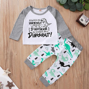 INS Baby Clothes Letter Dinosaur Boy Tops Pants 2pcs Sets Long Sleeve Girls Outfits Boutique Baby Clothing 2 Colors