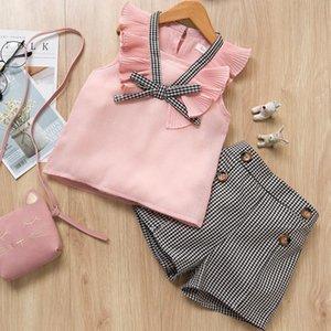 BibiCola baby summer clothing set little girls sleeveless tops+plaid short pants 2pcs children girls tracksuit for clothes