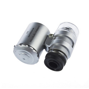 100set lot 60X Handheld Mini Pocket currency detecting Microscope Loupe Jeweler Magnifier With LED Light Mobile phone lens