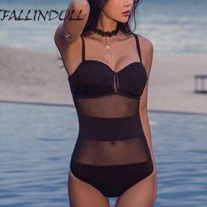 FALLINDOLL New One Piece Femmes Mesh solide et jusqu'à Maillots de bain Sexy Bodysuit Backless costumes de bain Monokini maillot de bain