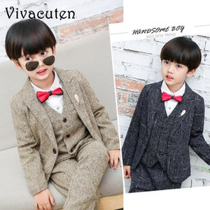 Boys Formal Suits For Weddings Kids Performance Party Blazer Vest Pants 3pcs Tuxedo Clothing Set Child Gentleman Costume F032