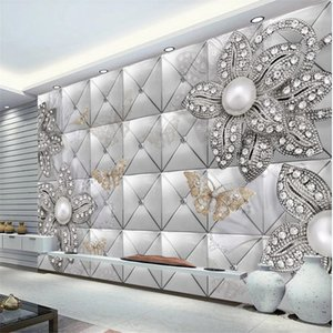 New product diamond pearl jewelry soft bag background wall modern wallpaper for living room