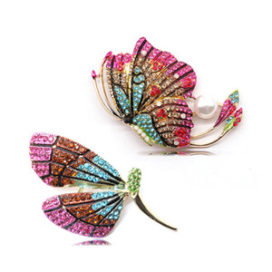 New fashion jewelry pendant fashion temperament crystal color butterfly brooch dragonfly animal brooch woman