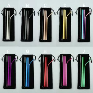 Commercio all'ingrosso BPA riutilizzabili paglia Portable Set Striaght Bent spazzola pulita Colorful 4 + 1 in acciaio inox paglia Set include Bag