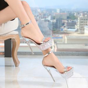 Sandalet Kadınlar Yüksek Topuk Su geçirmez Platformu Toka Kayış Nightclub İnce Topuklar Seksi Kadın Partisi Kristal Kadınlar Shoes