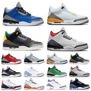 Nike air jordan retro 3 الرجال النساء أحذية كرة السلة 3s UNC اسكواش الملكي الأحمر الاسمنت الثلاثي قبضة أسود أبيض أحذية رياضية رياضية أحذية رياضة