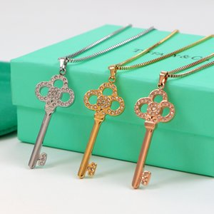 Красивый Cubic Алмазный ключ Подвесной Женщины ожерелье 18 K розового золота Простой ключицы цепи ожерелье Girlfriend способа подарка