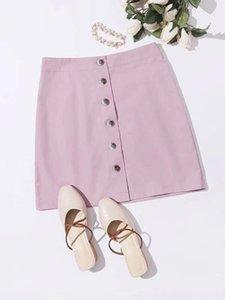 amido de raiz de lótus amido novas mulheres OL elegante cintura alta saia de lótus raiz single-breasted saia elegante rosa