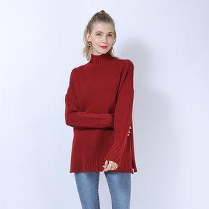 2020 otoño y el invierno de Nueva Pullover tenedor tenedor jersey de cuello alto suéter sólido de color simple suéter dobladillo dividida lxXUB moda femenina
