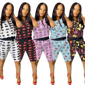 Define roupas de grife cintura Tracksuits Mulheres de idade Verão Lips Two Pieces Outfit pulôver O-Neck Tops com Zipper Shorts