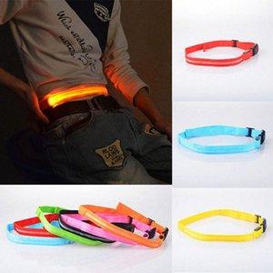 Reflexiva de la correa pulsera de LED luminoso unisex cinturón de seguridad de poliéster 40-100CM LED de bicicletas Sendero reflectante correa corriente 2Dop #
