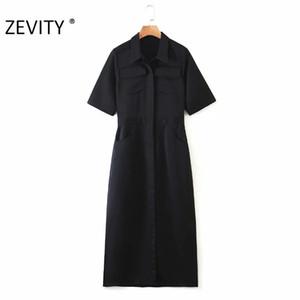 manga corta de las mujeres de la moda bolsillos ZEVITY señoras de la oficina shirtdress negro ocasional vestidos de visita delgada del partido elegante vestidos DS4241
