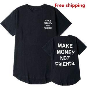 New GAGNER DE L'ARGENT PAS UN AMI Long T-shirt homme courbé homme Hem long t-shirt Hip Hop Blank City Justin Bieber T-shirt CTX806