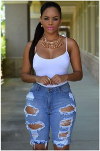 Waist Short Jeans Designer Washed Ripped Jeans Fashion Summer Knee Length Jeans Women Clothing Womens Hight