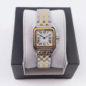 Heißer Verkauf Frauen Uhren Neue Mode 22 * 30mm Zifferblatt Hohe Qualität Gold / Silber Edelstahl Quarz Dame Uhren mit Diamant Freies Verschiffen