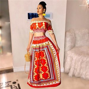 Stampa Slash Neck Dress Tropical Amorous stile vestito vestito delle donne sexy senza spalline 2PCS Red Dress