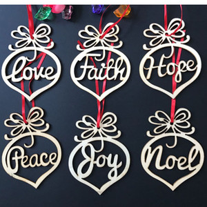 Christmas Letter Wood Heart Bubble Ornaments Decoration Christmas Tree Pendant Letters Hanging Gift Party Decor 6pcs Set HH7-1403