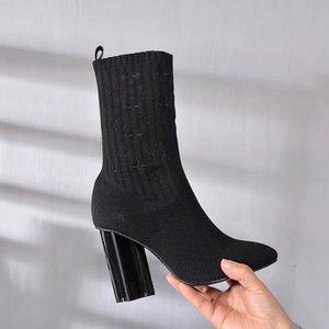 Louis Vuitton 2020 outono e inverno nova moda senhoras meias botas pretas selvagens botas de salto grosso moda moda quente quente plus size botas