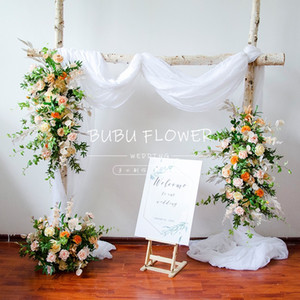 Pink Flower Artificial Wedding Row Arch Decor Flor Runner Stage Fundo do partido Tabela Bola Peça central Set Arranjo