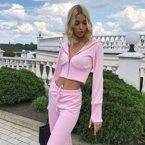 Spring Autumn Sexy Zipper Crop Top Tracksuit Women Two Piece Set Outfits Costume Female X0923