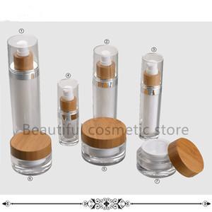 Eco recipiente de bambu frasco 15g / 30g / 50g de plástico frascos creme acrílico tampas de madeira óleo embalagem cosmética cuidados da pele 30ml 15ml
