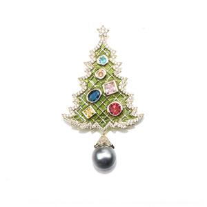 ağaç Noel serisi zarif yağ damlayan elmas Noel 9W1Pp broş inci üst seviye pimi atmosferik imitasyon inci püskül brooc OUoLK