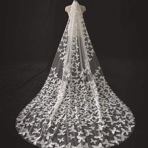 Une seule couche florale papillon chapelle de mariage exquis dentelle Veil Custom Made Light Ivory Bridal Veils