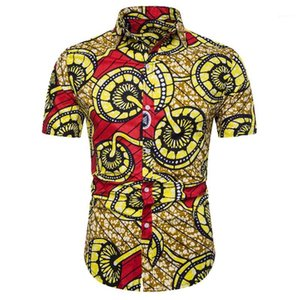 Shirts Mode-Digital gedruckte Kurzarmhemd Gelegenheits Panelled Afrika Artmens Polo Sommermens-Designer