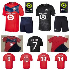 20 21 Futebol Lille 7 Victor Osimhen Jersey Set 9 Loïc Rémy 18 Renato Sanches 14 Jonathan Bamba Vermelho Amarelo Futebol shirt Kits