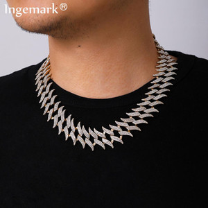 wholesale Hop Iced Out Paved Rhinestones Chain Necklace Women Collares Punk Heavy Miami Cuban Bling Crystal Choker Rapper Men Jewelry