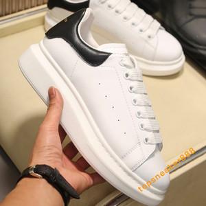Plataforma con cordones de 2020 para hombre Negro de terciopelo para mujer Zapatos Zapatos de cuero blanco Negro zapatos casuales con la caja