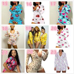 Mulheres Jumpsuit pijama Onesies Nightwear Playsuit Workout Botão magro dos desenhos animados de impressão V-neck Senhoras Novas Moda curtas macacão 2020