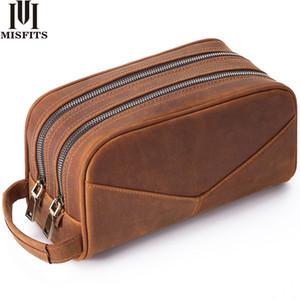 Bolsa MISFITS bolso de cuero genuino de lavado Hombres Mujeres Moda de maquillaje de mano de la caja cosmética grande diseñador Capacidad Marca Higiene