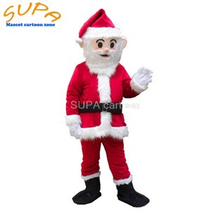 Free air shipping happy new year luxury Christmas santa claus costume with EVA head for men mascot fancy dress suit
