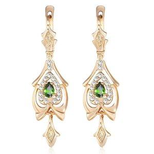Pendientes para las mujeres en forma de lágrima verde oliva CZ lámpara de gota El oro llenado pavimentada Claro circonio cúbico GE109