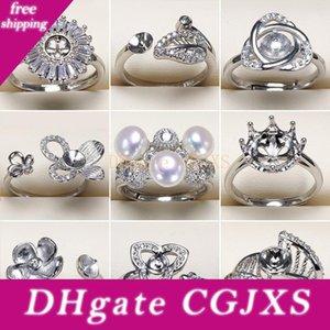 2019 Pearl Ring 925 Щепки Кольцо Настройки Diy Pearl Ring для женщин девушка Diy кольца Регулируемого размера Jewelry Settings себе подарок способа