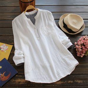 ZANZEA Autumn Elegant Women V Neck Long Sleeve Solid Casual Blouses Feminina Blusas Loose Cotton Linen Work Shirts Top Plus Size