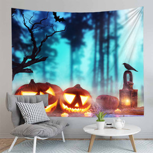 Halloween series happy party wall tapestry wall decoration cute cartoon style pumpkin ghost family bar little cute