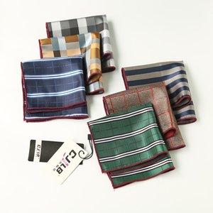 Mens Suit Pocket Square Handkerchief Grid Striped NEW Style Hankies Business Man Hanky Handkerchief Male Female Formal Suit Tie Accessories