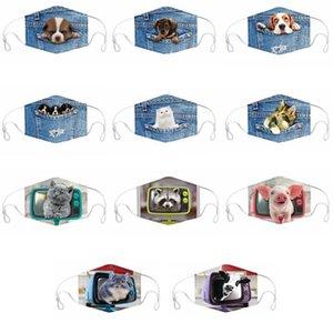 Hayvan Baskılı Yüz Maskeleri 3D Karikatür Kovboy Köpek Kedi Unisex Facemask Yıkanabilir Anti Toz Rüzgar Resuable Yüz Kapak Bisiklet Ağız IIA555 Maske