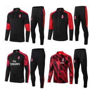 En kaliteli 2020 2021 AC Milan yetişkin Futbol eğitim takım elbise survetement 20 21 AC Milan HIGUAIN CALHANOGLU Bonucci futbol Eşofman