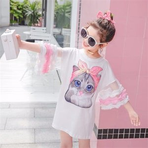 Summer girls dress baby tee dress kids fashion streetwear Children vestidos sequin cat patch mesh puff sleeve 4-14 girls dresses 0922