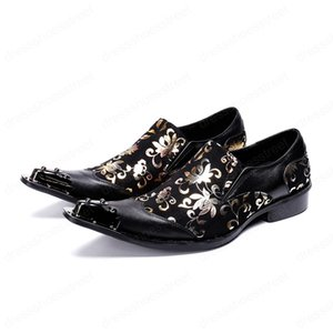 Plus Size Metal Printing New Business Shoes Pointed Toe with Diamond Genuine Leather Shoes Formal Party Men Shoes